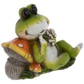 Frog Laying On Mushrooms