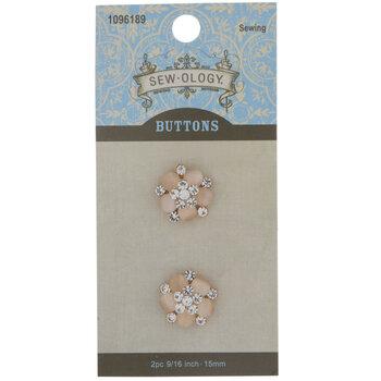 Gold Rhinestone Flower Shank Buttons - 15mm