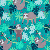 Jungle Sloth Knit Fabric