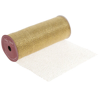 "Gold Metallic Mesh Wired Edge Ribbon - 10"""