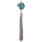 Blue Druzy Pendant With Metal Tassel