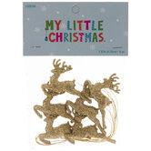 Mini Gold Glitter Reindeer Ornaments