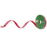 """Red Merry Christmas Single-Face Satin Ribbon - 3/8"""""""