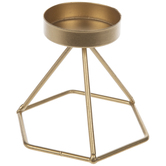 Gold Geometric Metal Candle Holder - Small