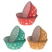 Turquoise, Red & Yellow Polka Dot Baking Cups