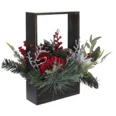 Pinecone, Berry & Ornament In Wood Frame