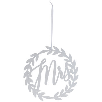 White Mrs Wreath Metal Chair Sign