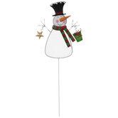 Top Hat Snowman Metal Garden Stake
