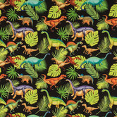 Black Prehistoric Pets Cotton Calico Fabric