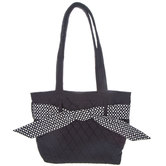 Black & White Quilted Tote Bag With Loops