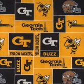 Georgia Tech Block Collegiate Fleece Fabric
