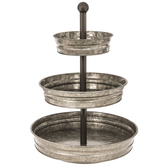 Galvanized Three-Tiered Metal Tray