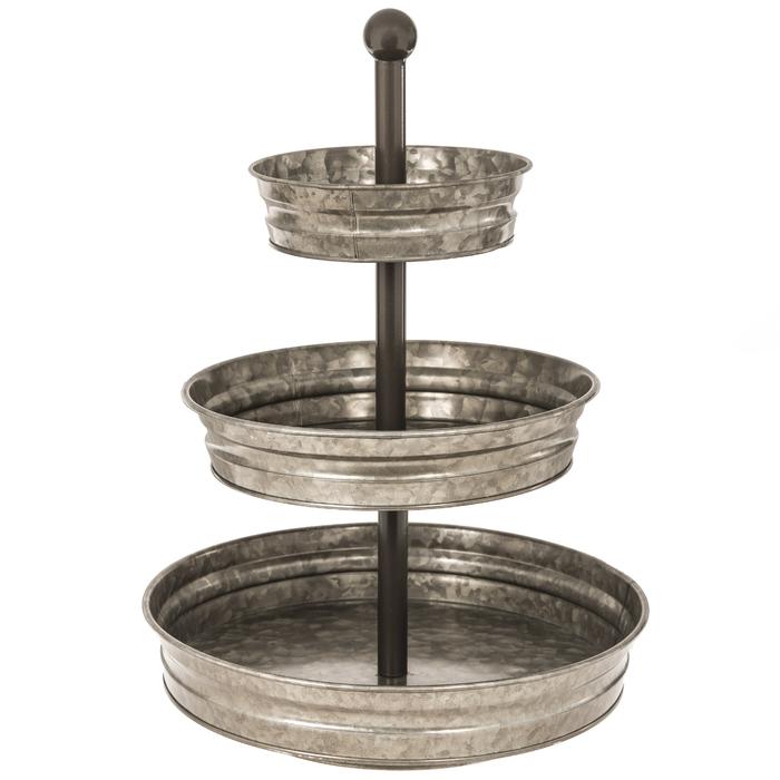 Galvanized Three Tiered Metal Tray Hobby Lobby 1354067