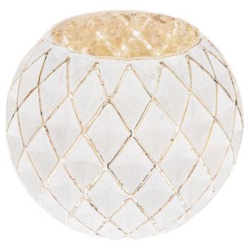 Diamond Pattern Round Mercury Glass Candle Holder