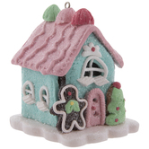 Pink & Blue Gingerbread House Ornament
