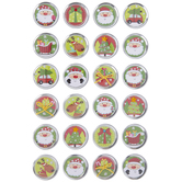 Round Christmas Icons Foil Stickers