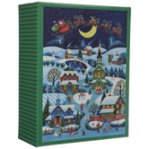 Santa & Reindeer Over Little Town Puzzle
