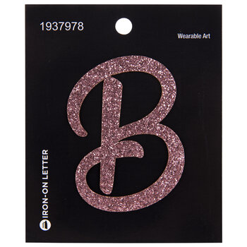 Pink Glitter Letter Iron-On Applique - B