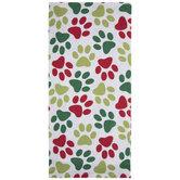 Red, Green & White Paw Print Kitchen Towel