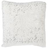White & Silver Faux Fur Pillow
