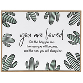 You Are Loved Boy Cactus Wood Wall Decor