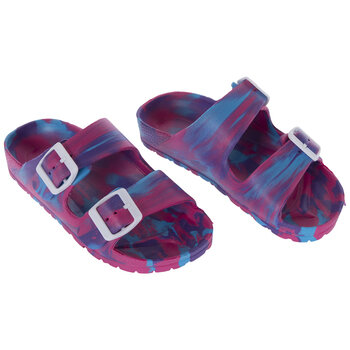 Pink, Blue & Purple Tie Dye Buckle Youth Sandals - Medium
