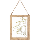 Dried Yellow Flowers Framed Wood Wall Decor