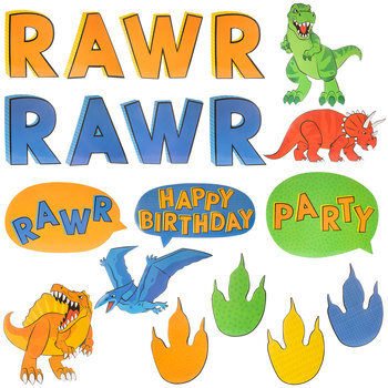 Dinosaur Birthday Party Paper Cutouts