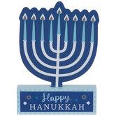 Happy Hanukkah Menorah Wood Decor