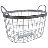 Silver Oval Metal Basket