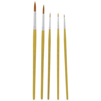 Gold Nylon Detail Paint Brushes - 5 Piece Set