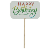 Rainbow Foil Happy Birthday Cupcake Toppers