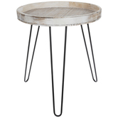 Whitewash Round Wood Accent Table