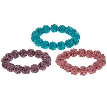 Pink, Purple & Blue Rhinestone Beaded Hair Ties
