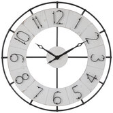 Distressed White Metal Wall Clock