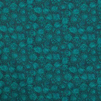 Night Green Swirl Cotton Calico Fabric