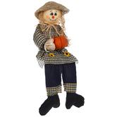 Girl Scarecrow With Pumpkin Shelf Sitter