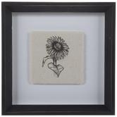 Sunflower Linen Framed Wall Decor