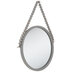 Gray Round Beaded Wood Wall Mirror