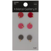 Red, Pink & Gray Disc Earrings