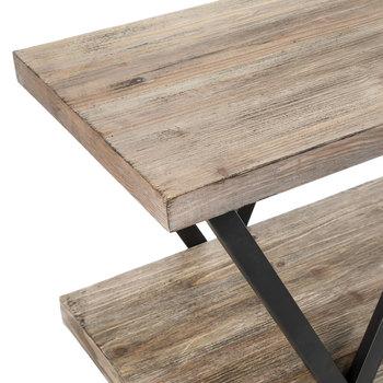 Industrial Three-Tiered Wood Shelf