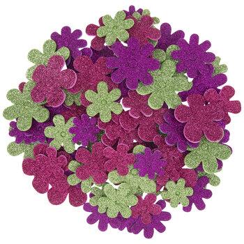 Glitter Flower Foam Stickers