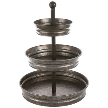 Galvanized Three-Tiered Metal Tray