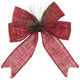 Red Burlap & Pinecone Bow
