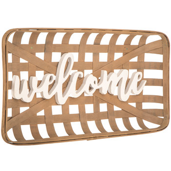 Welcome Basket Wood Wall Decor