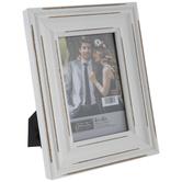 "Distressed White Beveled Wood Frame - 4"" x 6"""