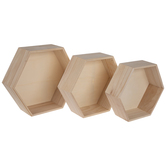 Hexagon Wood Wall Shelf Set