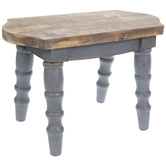 Blue & Natural Wood Stool