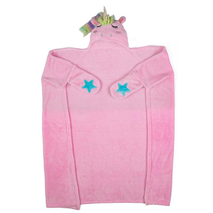 Pink unicorn hooded blanket