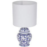 White & Blue Geometric Lamp